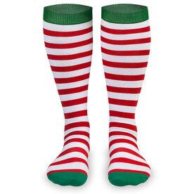 Woven Yakety Yak! Knee High Socks - Running Christmas Elf (Red & White Stripes/Green)