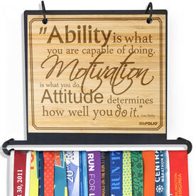 Engraved Bamboo BibFOLIO+™ Race Bib and Medal Display Ability, Motivation, & Attitude Quote