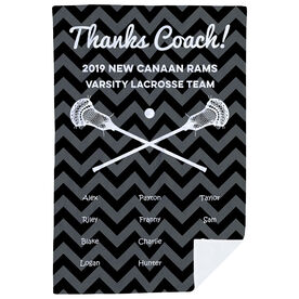 Guys Lacrosse Premium Blanket - Personalized Thanks Coach Chevron