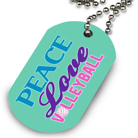 Volleyball Printed Dog Tag Necklace Peace Love Volleyball Words
