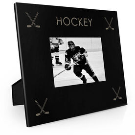 Hockey Engraved Picture Frame Four Corners