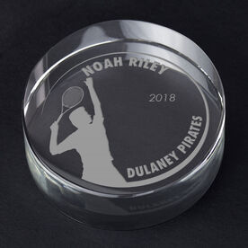 Tennis Personalized Engraved Crystal Gift - Customized Player (Male)