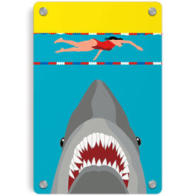 Swimming Metal Wall Art Panel - Shark Attack (Girl Swimmer)