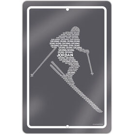 "Skiing 18"" X 12"" Aluminum Room Sign Personalized Skiing Words"