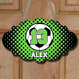 Soccer Cloud Sign Personalized Soccer Ball with Dots Background