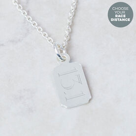 Sterling Silver Custom Distance Mini Rectangular Tag Necklace