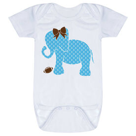 Football Baby One-Piece - Football Elephant with Bow