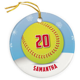 Softball Porcelain Ornament Personalized Softball with Winter Background