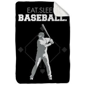 Baseball Sherpa Fleece Blanket Eat Sleep Baseball