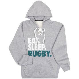 Rugby Sport Lace Sweatshirt Eat. Sleep. Rugby.
