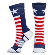 Hockey Woven Mid-Calf Socks - Patriotic