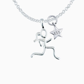 Sterling Silver Stick Figure Runner with Sterling Silver 13.1 Star Necklace