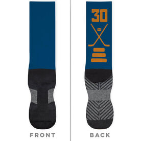 Hockey Printed Mid-Calf Socks - Hockey Stick Team Colors