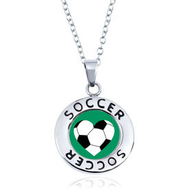 Soccer Circle Necklace - Ball Heart