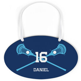 Guys Lacrosse Oval Sign - Personalized Lacrosse Crossed Sticks with Big Number