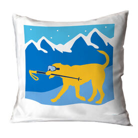 Skiing Throw Pillow - Sven The Ski Dog