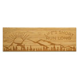 """Running 12.5"""" X 4"""" Engraved Bamboo Removable Wall Tile - Life's Short Run Long (Mountains)"""