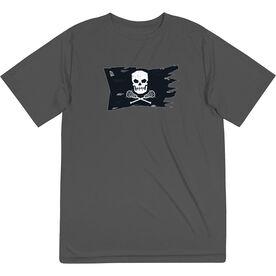 Guys Lacrosse Short Sleeve Performance Tee - Lax Pirate Flag