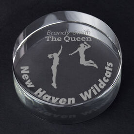 Volleyball Personalized Engraved Crystal Gift - Player Silhouette with Custom Text (Female)