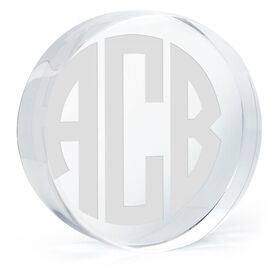 Personalized Engraved Crystal Gift - Circle Monogram