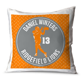 Football Throw Pillow Personalized Football Team with Wide Receiver Silhouette