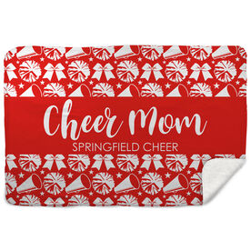 Cheerleading Sherpa Fleece Blanket - Mom Stripe Team Name
