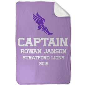 Track & Field Sherpa Fleece Blanket - Personalized Captain
