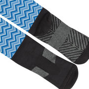 Girls Lacrosse Printed Knee-High Socks - Chevron Crossed Sticks