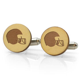 Football Engraved Wood Cufflinks Helmet
