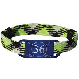Personalized Hockey Lace Bracelet Number with Crossed Hockey Sticks Adjustable Sport Lace Bracelet