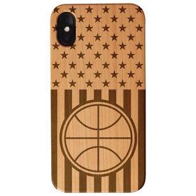Basketball Engraved Wood IPhone® Case - USA Basketball Flag
