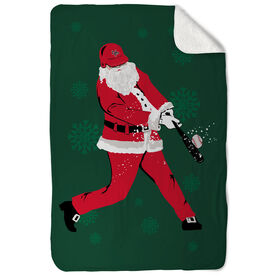 Baseball Sherpa Fleece Blanket - Homerun Santa