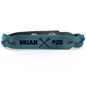 Guys Lacrosse Leather Engraved Bracelet Name Crossed Sticks Number