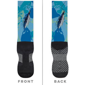 Fly Fishing Printed Mid-Calf Socks - Watercolor Clouser