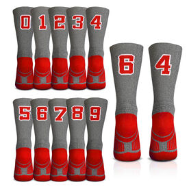 Team Number Woven Mid-Calf Socks - Gray/Red