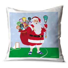 Guys Lacrosse Throw Pillow Lacrosse Santa