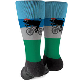 Triathlon Printed Mid-Calf Socks - Toby The Triathlon Dog