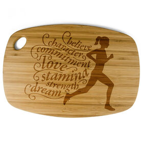 Rectangle Laser Engraved Bamboo Cutting Board Words To Run By