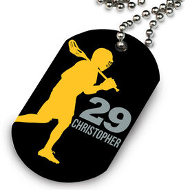 Lacrosse Printed Dog Tag Necklace Personalized Laxer Guy