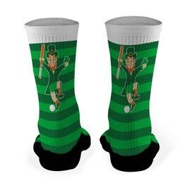 Baseball Printed Mid Calf Socks Lucky Baseball Leprechaun