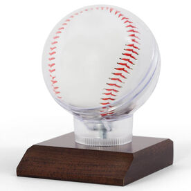 Baseball Round Ball Display with Optional Engraved Plate