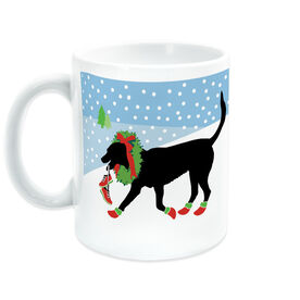 Running Coffee Mug - Rex The Running Dog With Christmas Wreath