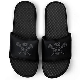 Lacrosse Black Slide Sandals - Sticks & Skull with Number