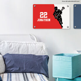 """Guys Lacrosse 18"""" X 12"""" Aluminum Room Sign - Personalized Lacrosse Player Silhouette"""