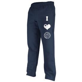 I Love Volleyball (Symbols) Fleece Sweatpants