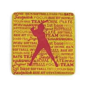 Softball Stone Coaster - Softball Words