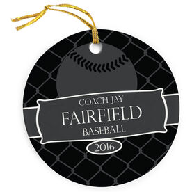 Baseball Porcelain Ornament Thanks Coach Ribbon with Baseball