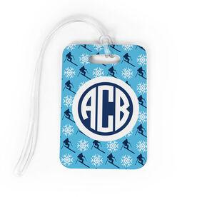 Skiing Bag/Luggage Tag - Personalized Skiing Pattern Monogram