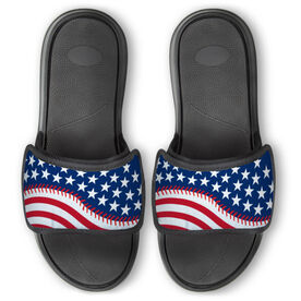 Softball Repwell® Slide Sandals - American Flag Ball