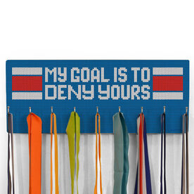 Hockey Hooked on Medals Hanger - Knitted My Goal Is To Deny Yours